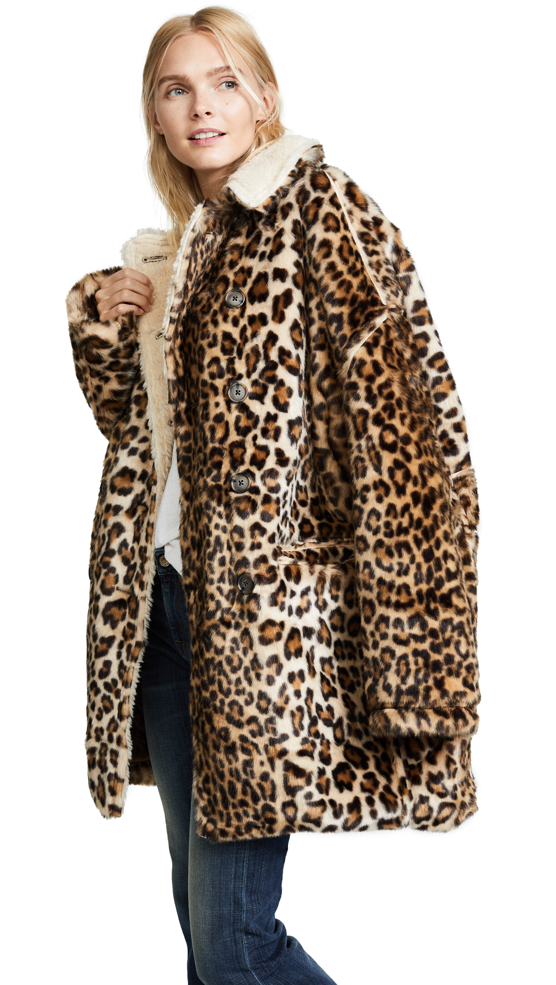 R13 Leopard Hunting Faux Fur Coat In Leopard