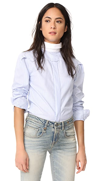 R13 Backwards Button Down Shirt - Blue Stripe
