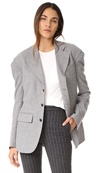 R13 Blazer with Gusset In Light Grey