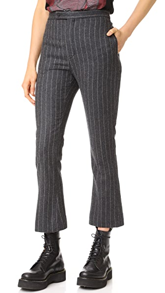 R13 Skinny Kick Flare Trousers - Chalk Stripe