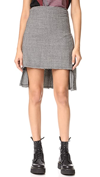 R13 Houndstooth Kilt - Black & White Mini Houndstooth