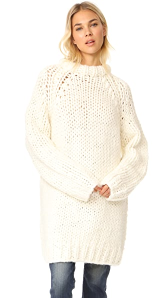 R13 Oversized Chunky Fisherman Sweater - Crème