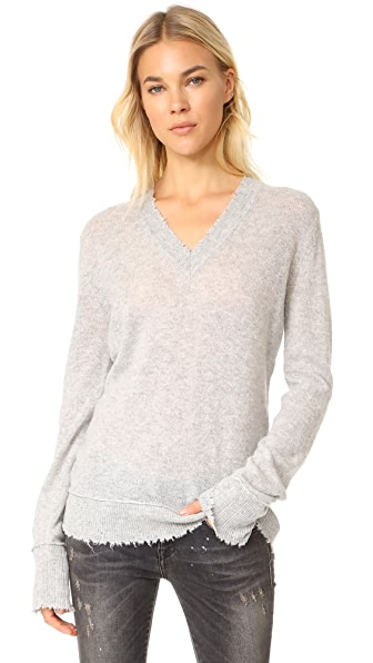 R13 Distressed Edge V Neck Sweater In Heather Grey