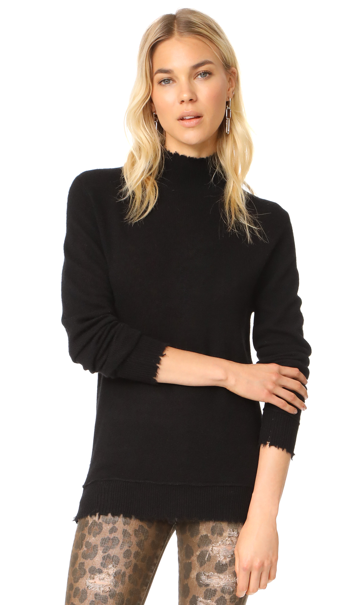 R13 Distressed Edge Cashmere Turtleneck In Black