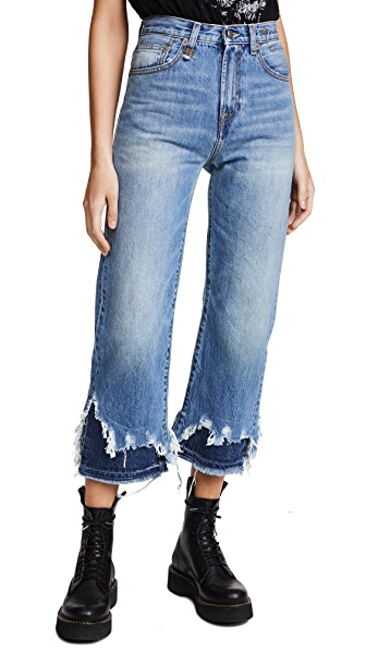 R13 High Rise Camile Double Shredded Jeans In Jasper With Double Shred