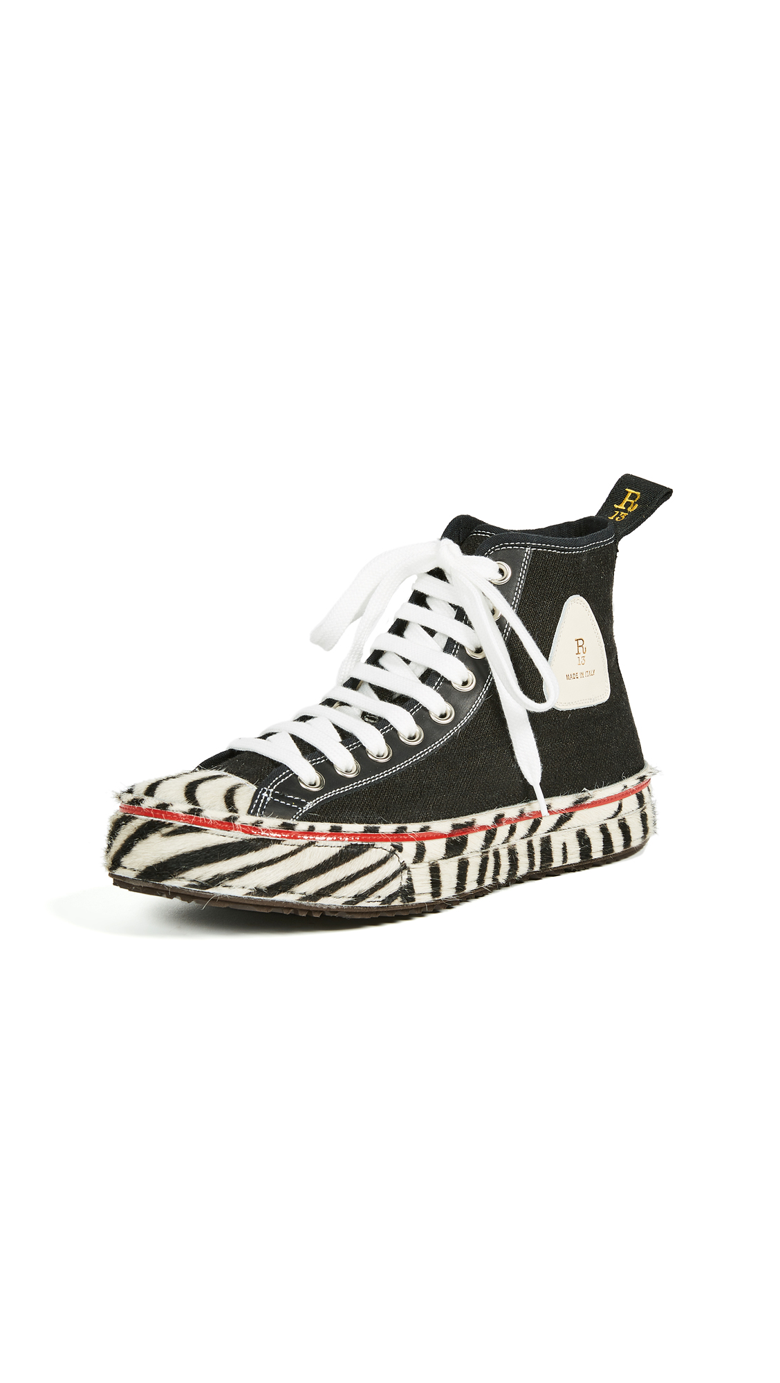 R13 Canvas High Top Sneakers - Black/Zebra