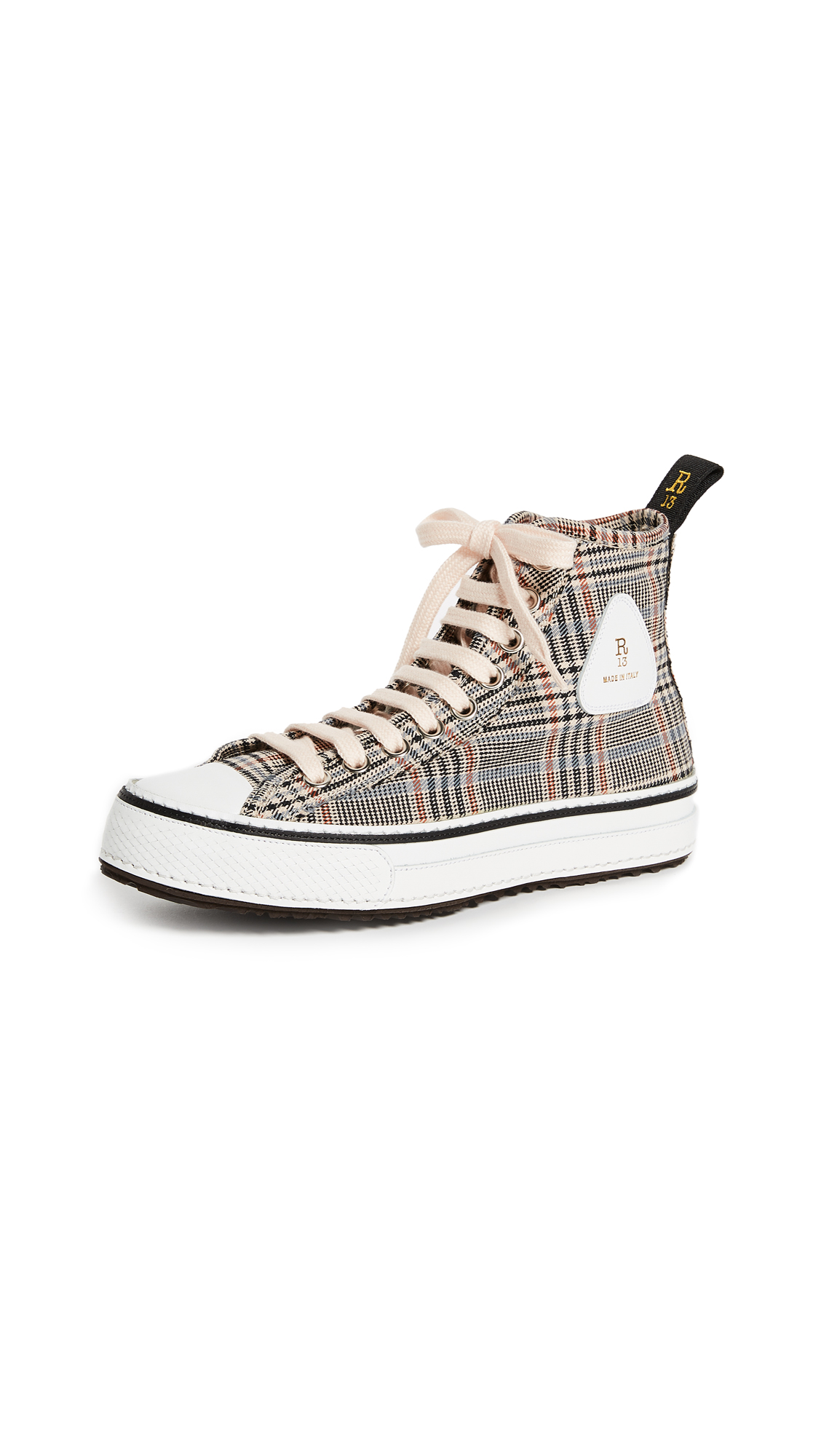 R13 Plaid Twill High Top Sneakers - Orange Plaid