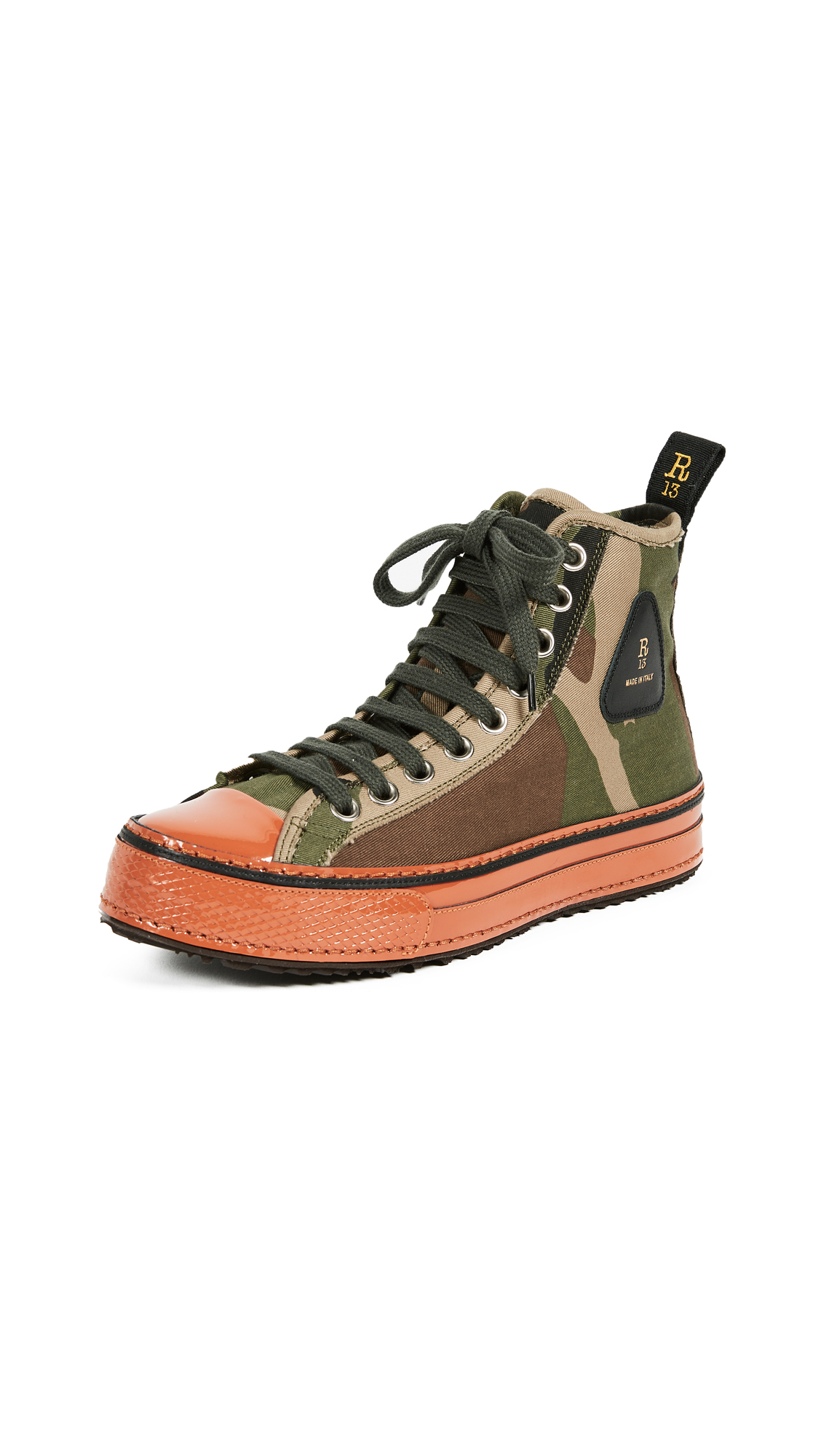 R13 Canvas High Top Sneakers - Camo/Orange