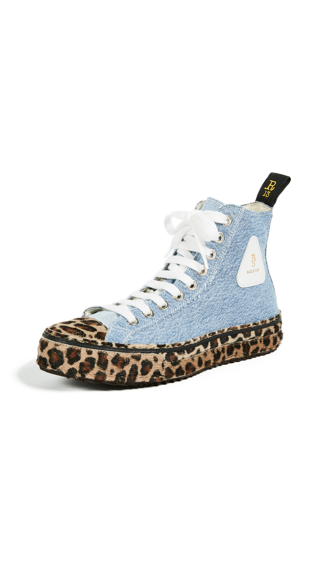 R13 Re Purposed Denim High Top Sneakers - Denim/Leopard