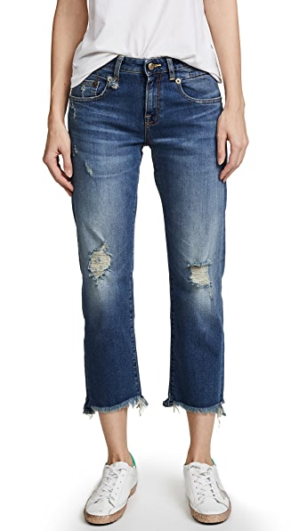 R13 Straight Boy Jeans In Baylis With Rips