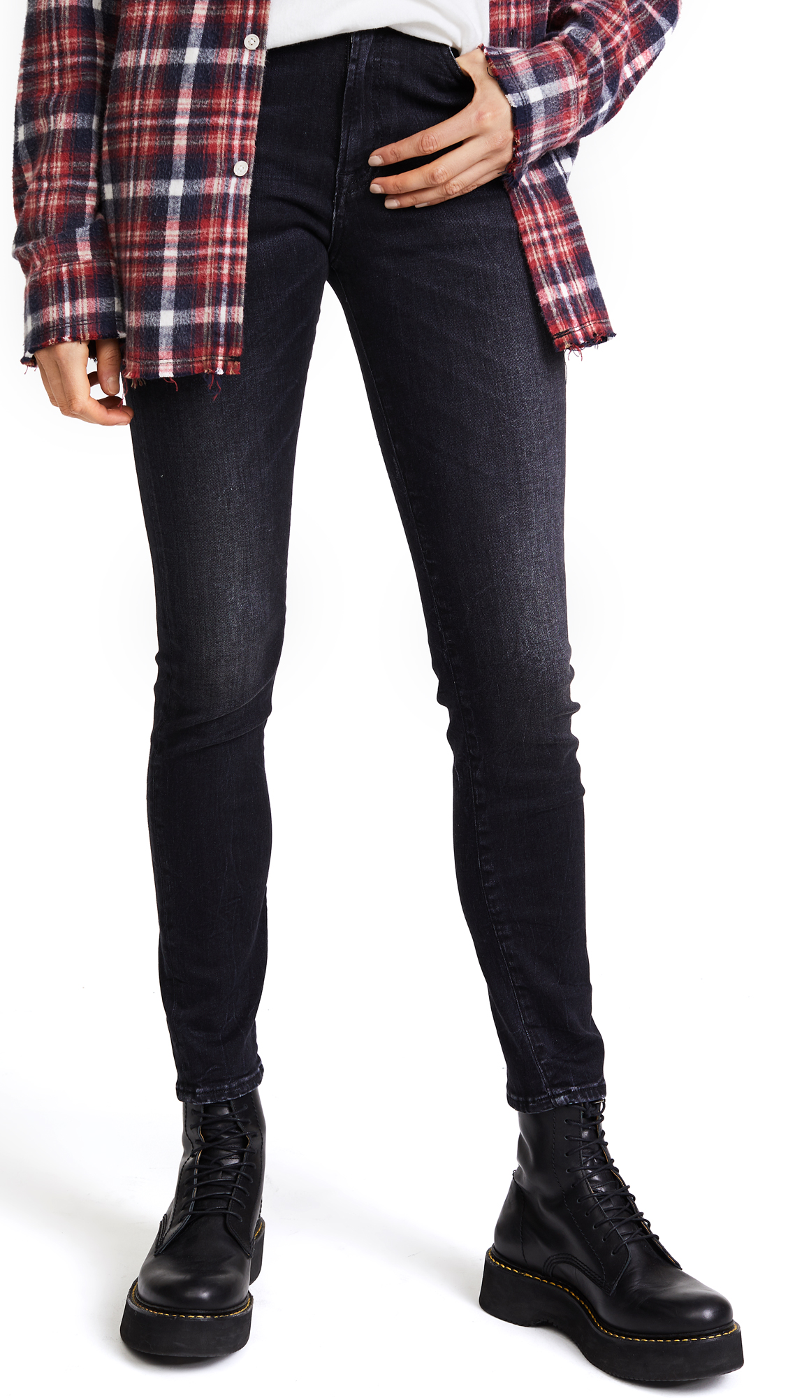 R13 High Rise Skinny Jeans In Black Marble