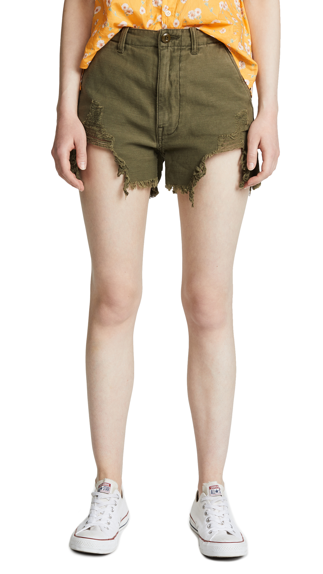 R13 Distressed Camp Shorts