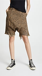 R13 Leopard Twisted Utility Shorts