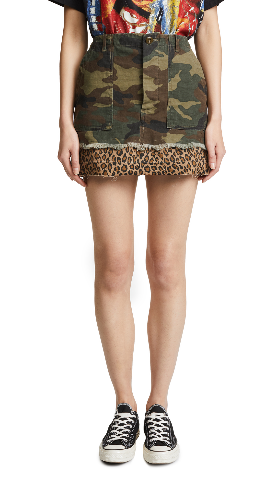R13 Utility Camp Skirt In Camo/Leopard