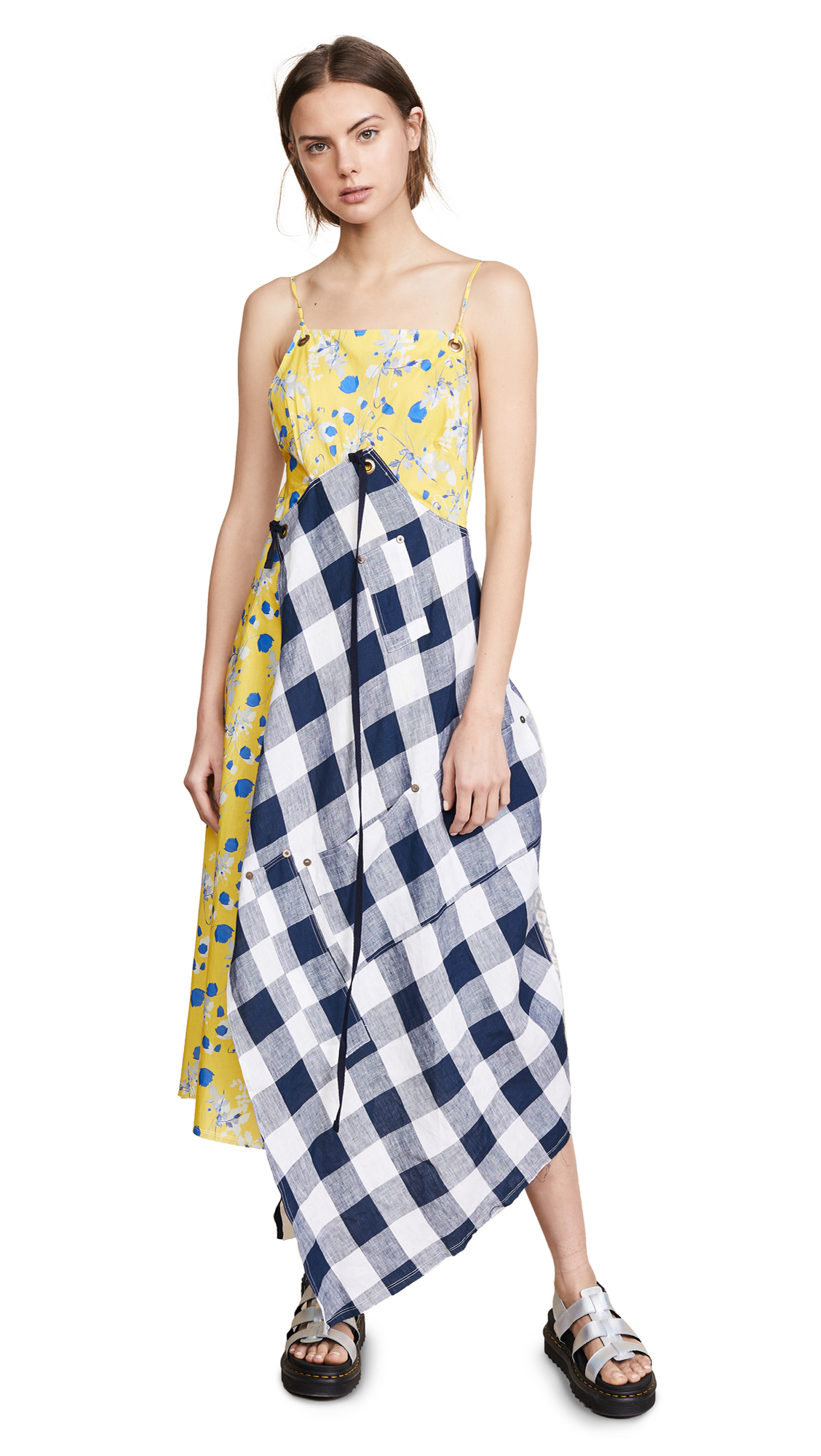 Patchwork Cotton Midi Dress, Yellow Floral/Check Combo