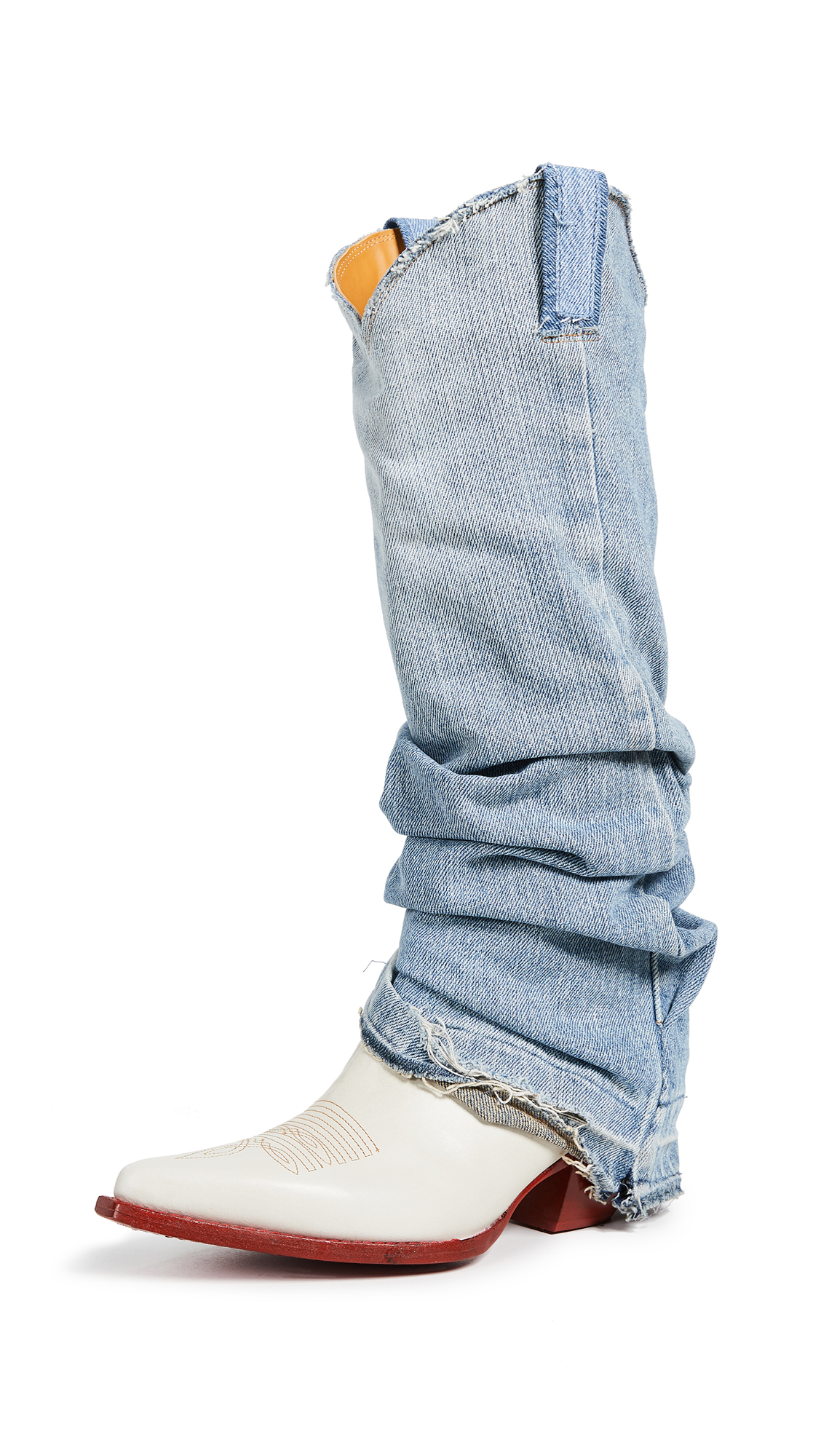 R13 Cowboy Boots with Denim Sleeve - Blue/White