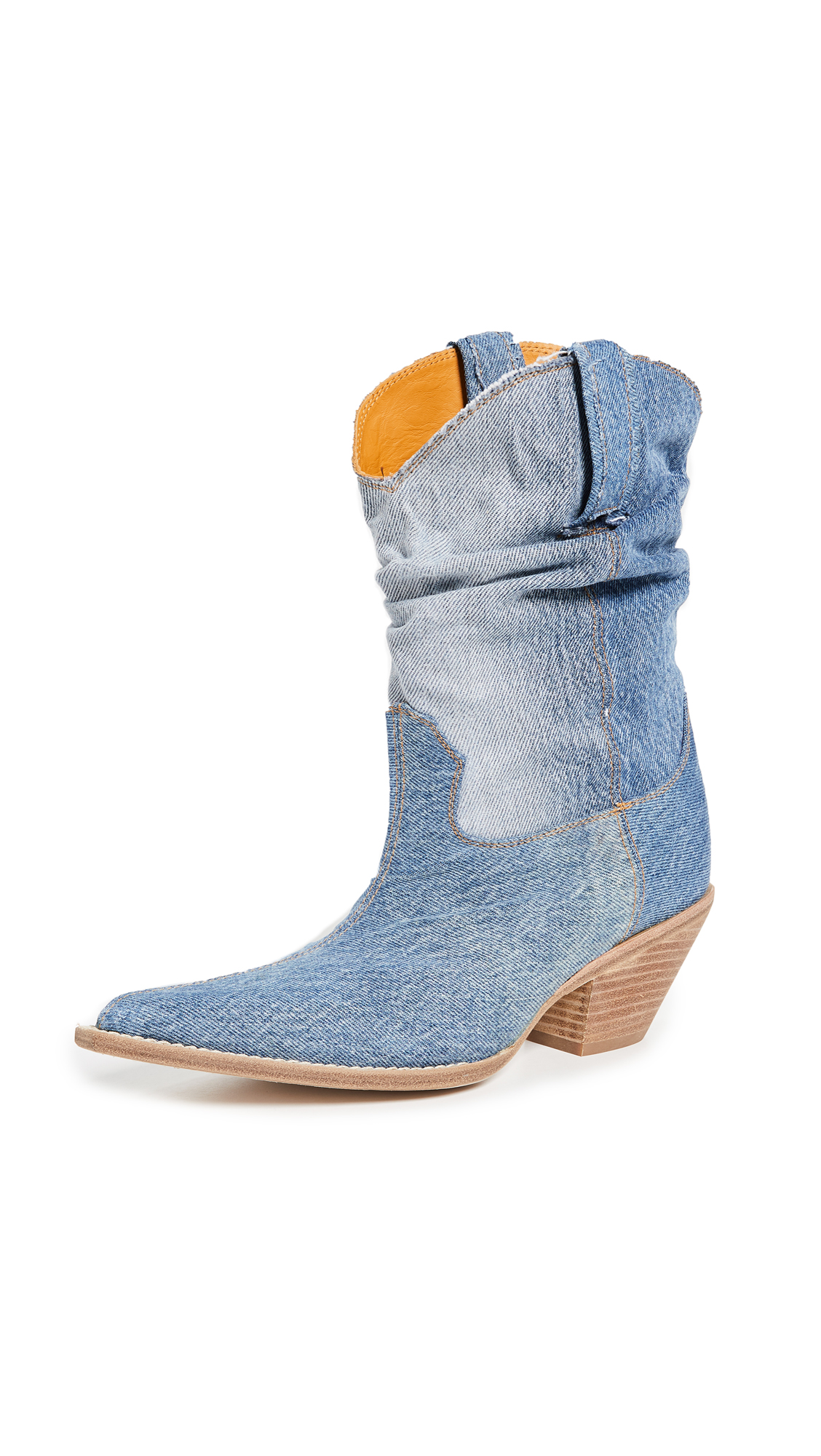 R13 Low Crunch Cowboy Boots - Blue Denim