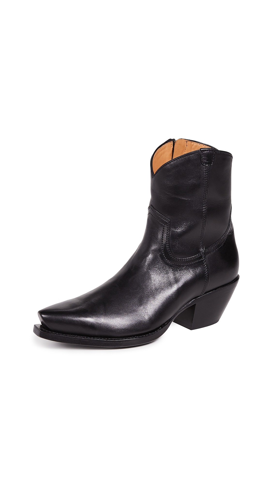 R13 Cowboy Ankle Boots - Black/Black
