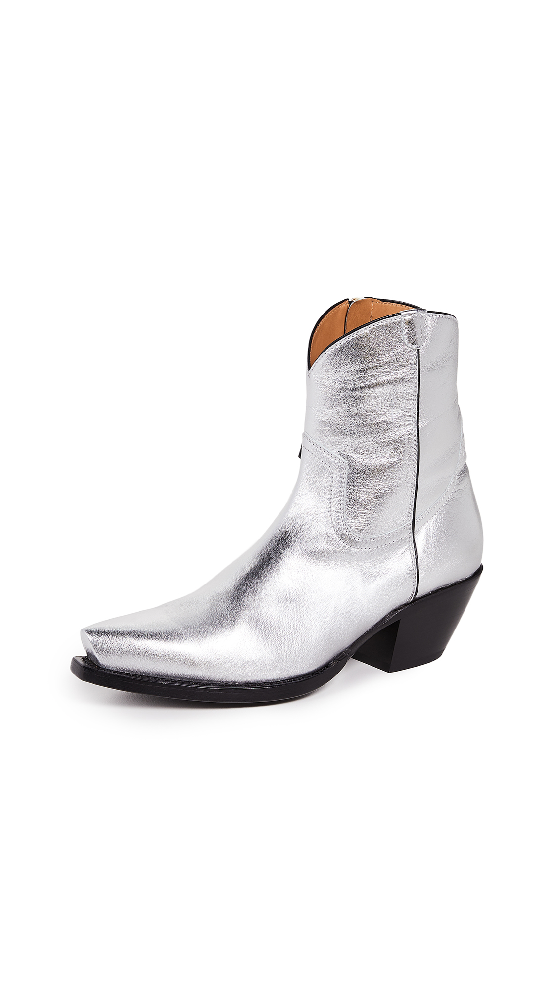R13 Cowboy Ankle Boots - Silver