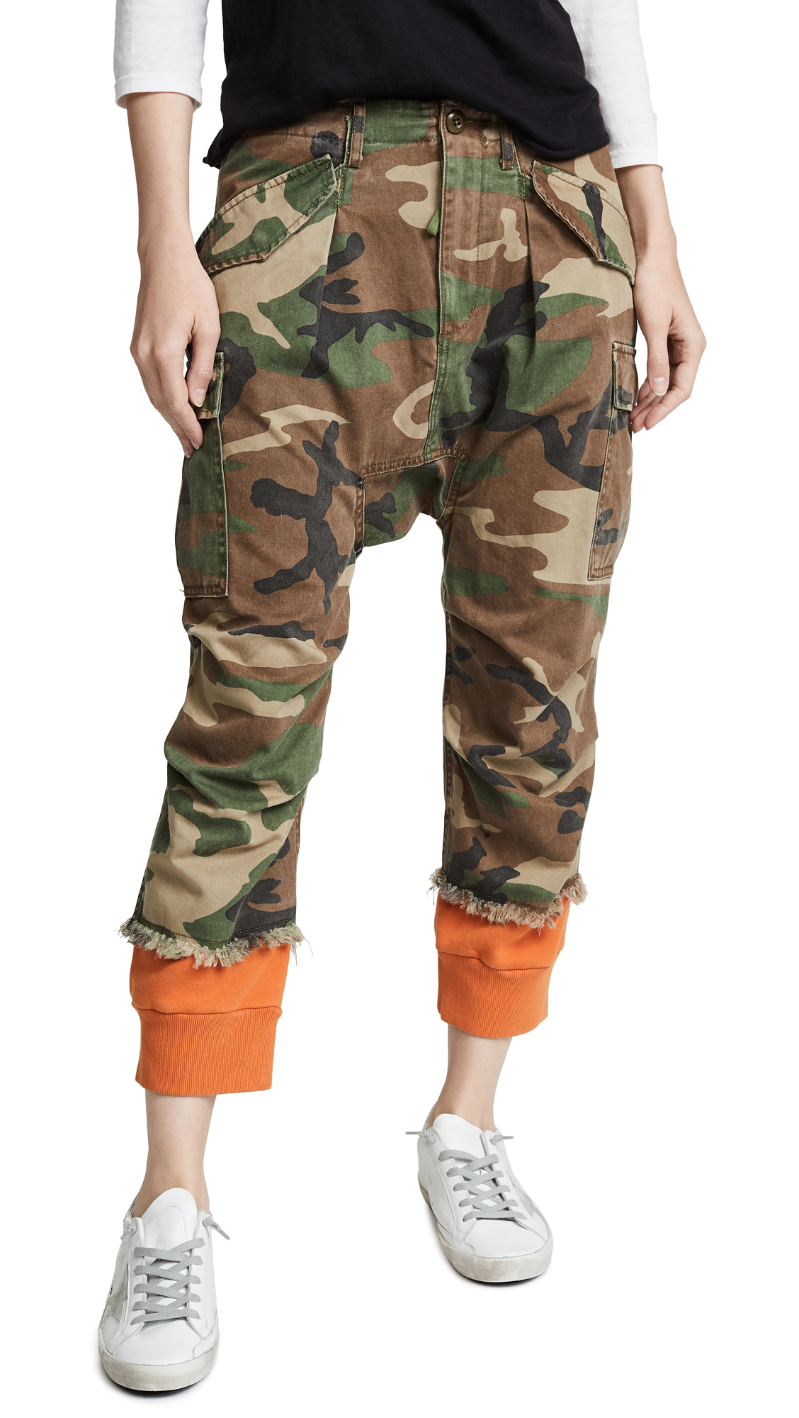 Green & Orange Camo Harrem Sweat Cuffs Cargo Trousers, Camo/Orange