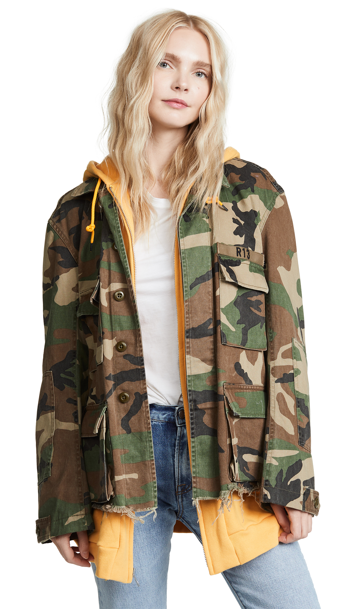 R13 Camo Abu Jacket with Long Hoodie In Camo/Yellow