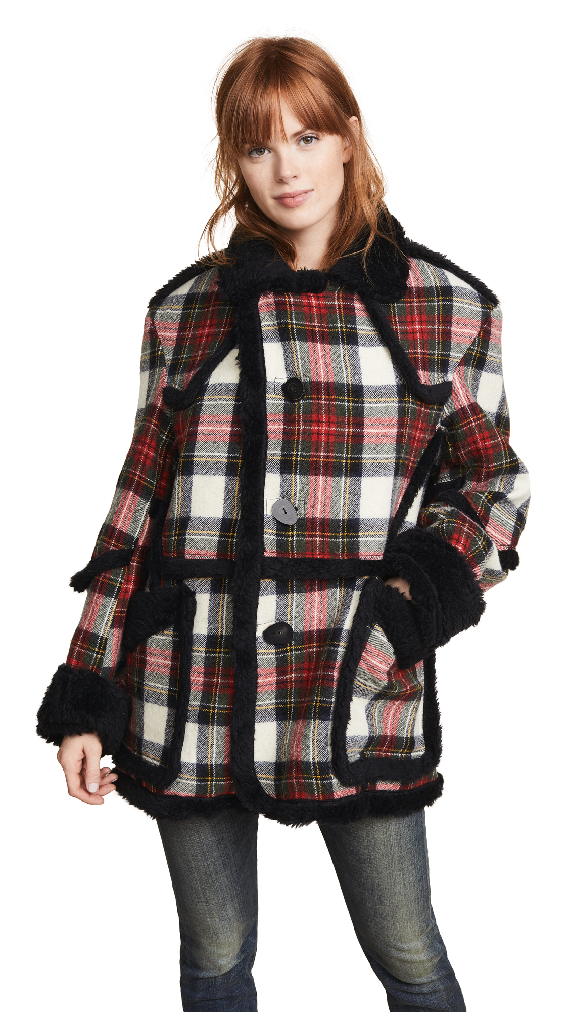 R13 Plaid Coat with Sherpa Trim In Red/Cream Plaid