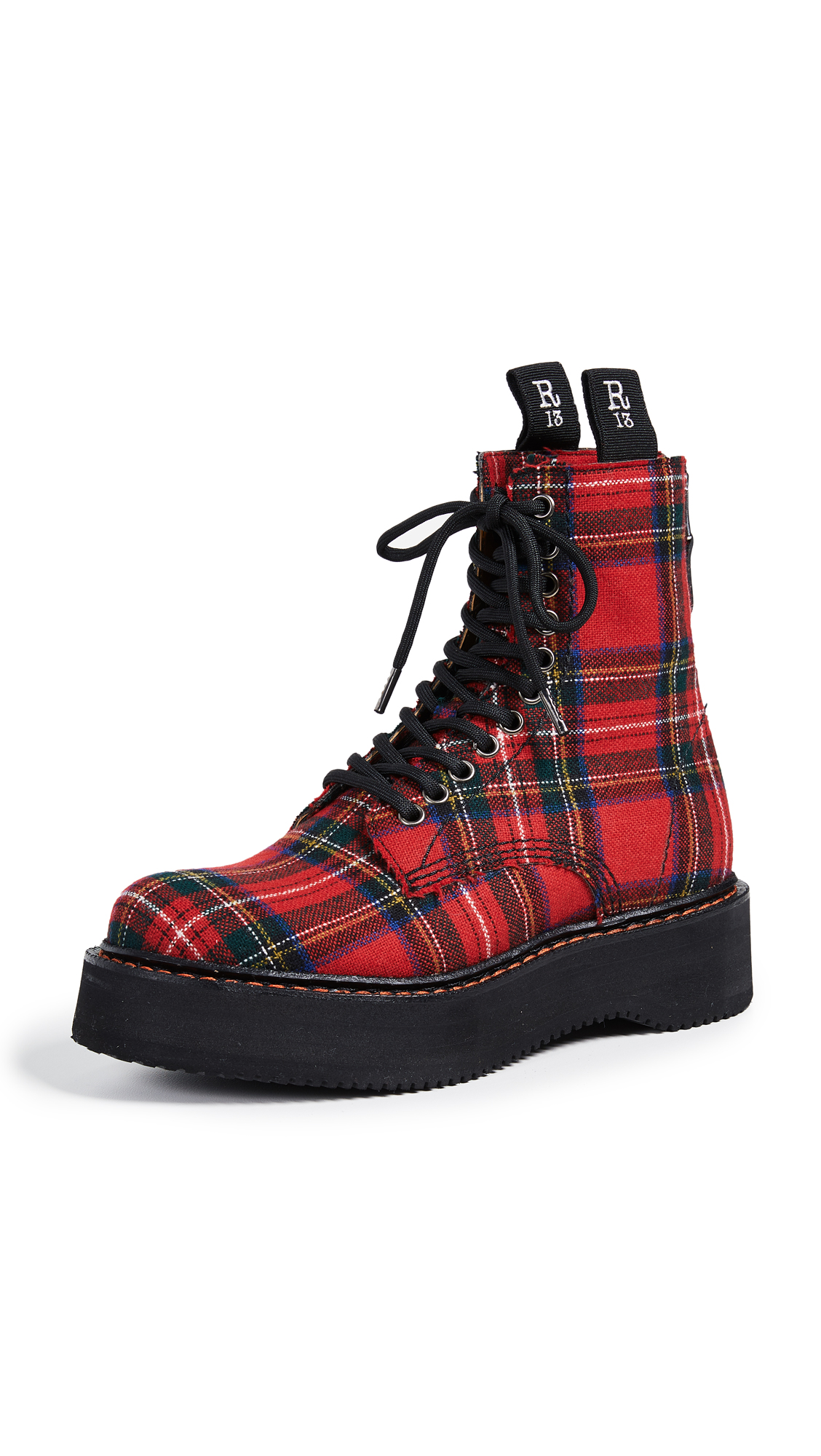 Women'S Single Stack Canvas Lace-Up Boots, Red Plaid