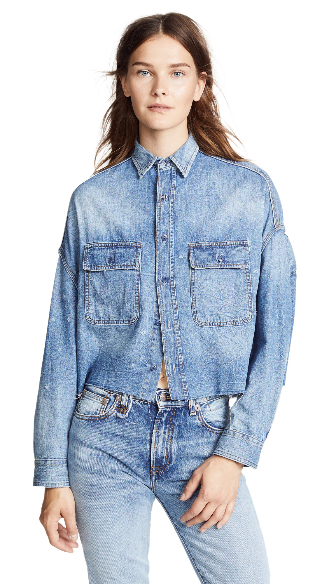 R13 Cropped Denim Shirt In Brindley
