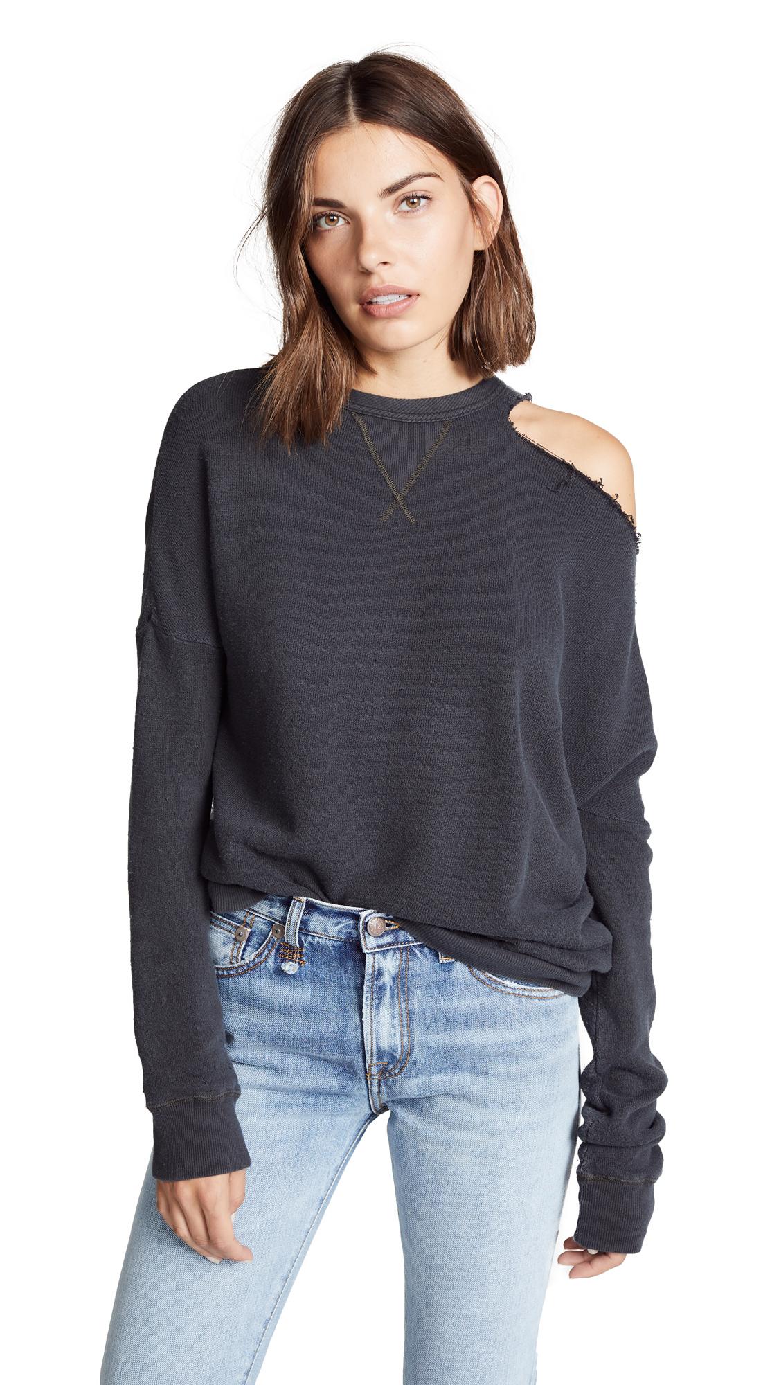 R13 Distorted Sweatshirt In Vintage Black