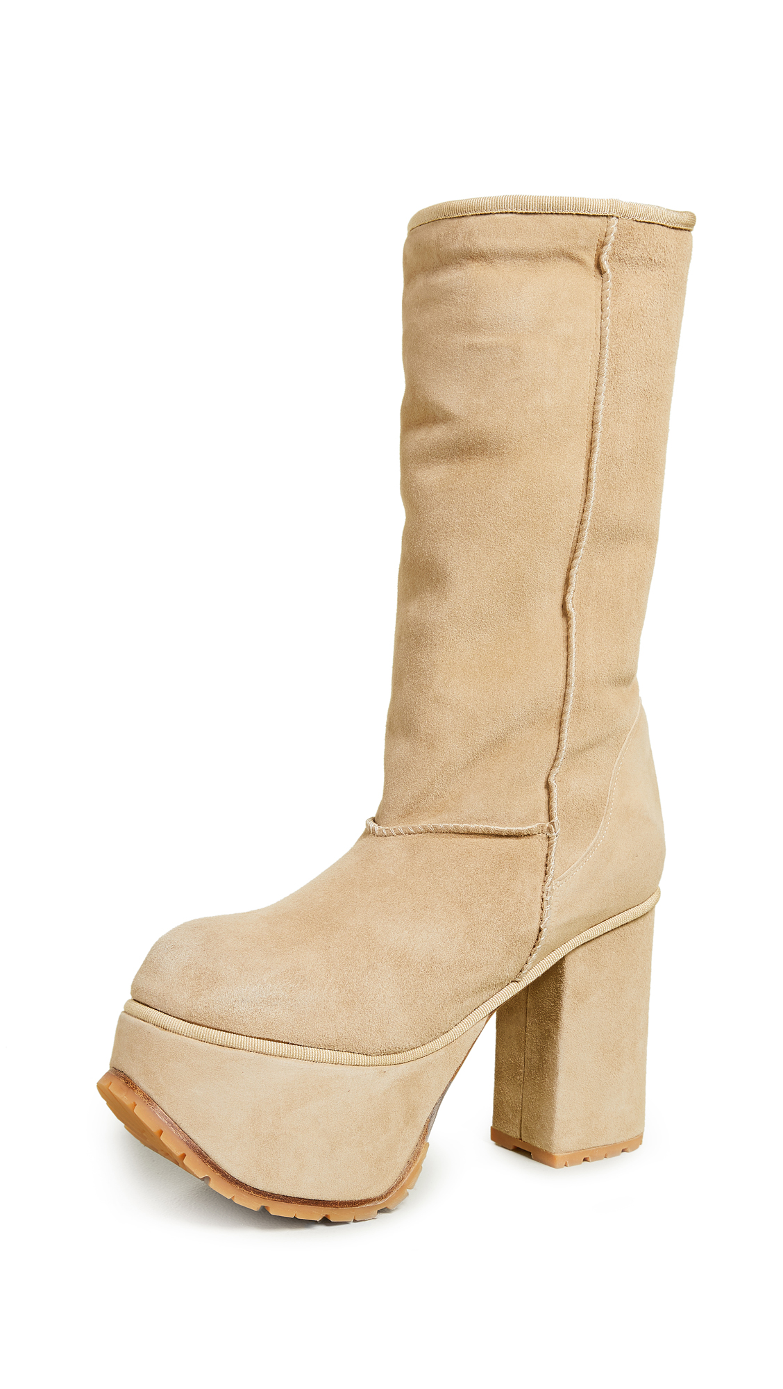 R13 Shearling Tall Platform Boots - Tan