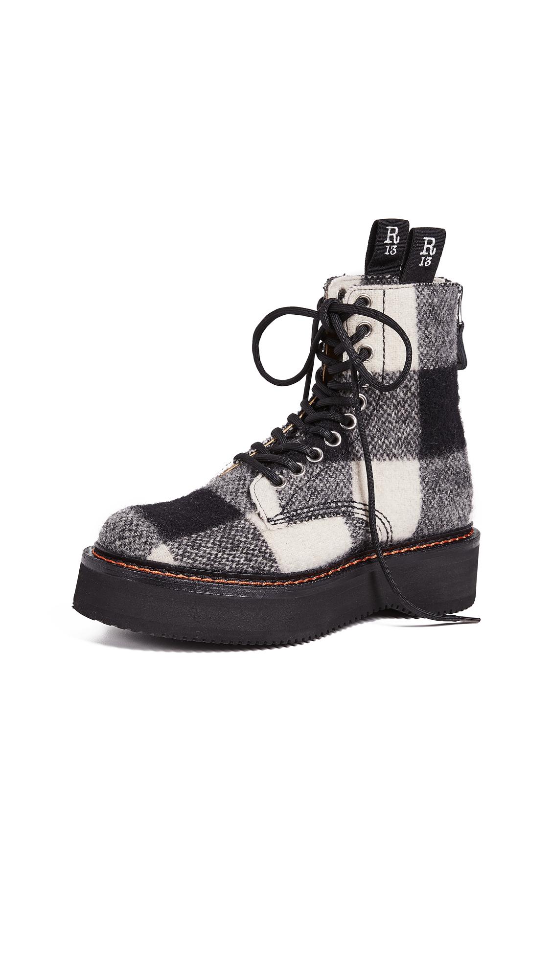 R13 Single Stack Boots - Black/White Plaid
