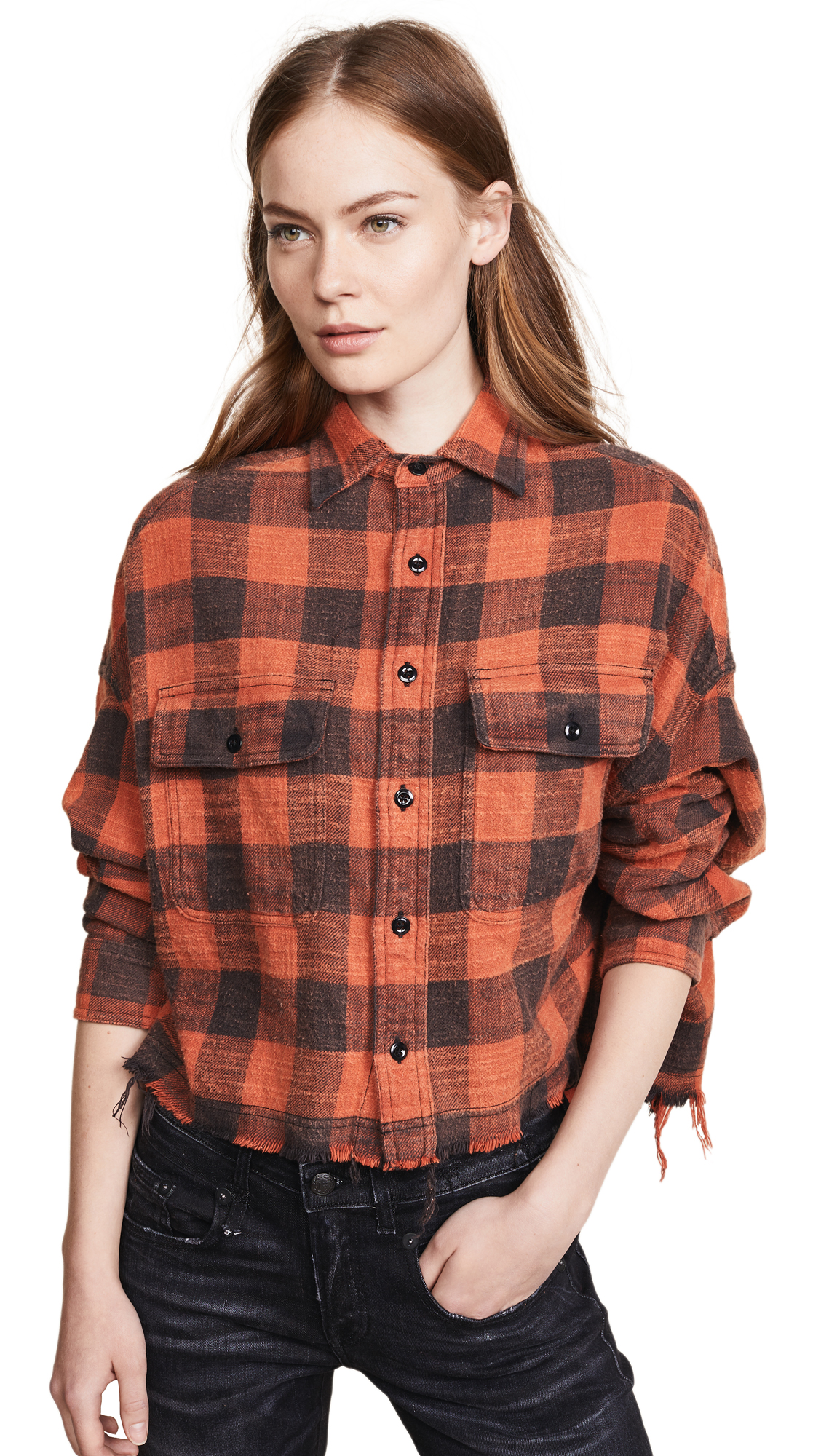 Red Plaid Cropped Work Shirt in Yellow
