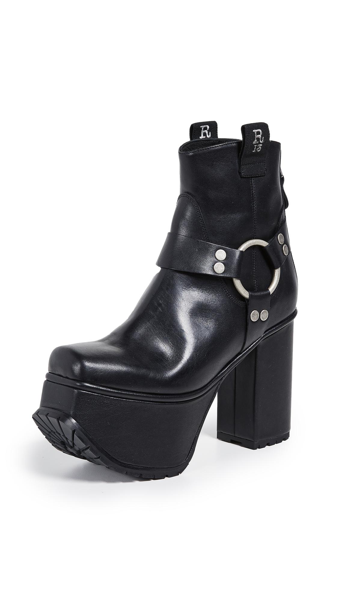 R13 Ankle Harness Platform Boots - Black