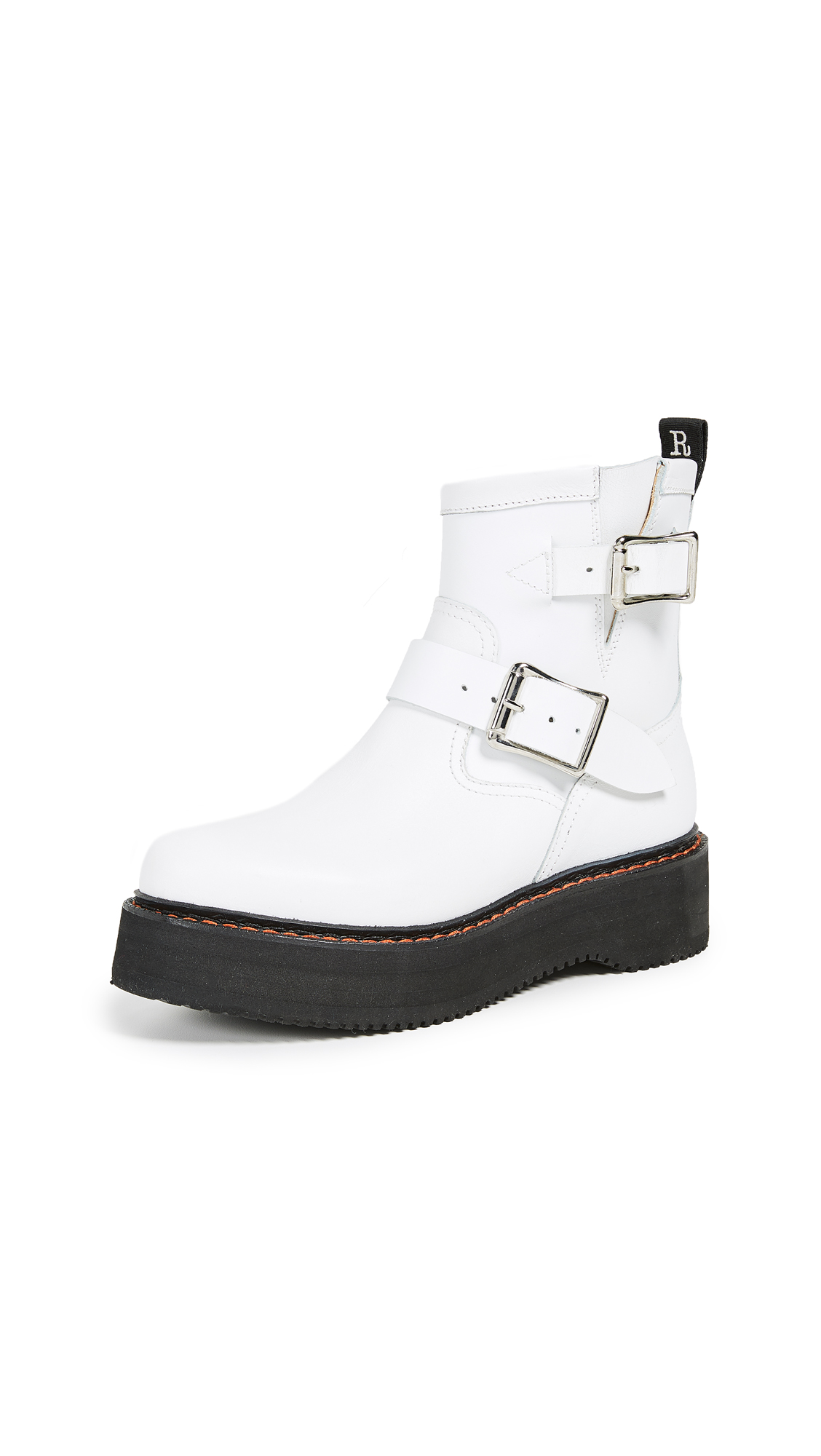 R13 Single Stack Engineer Boots - White