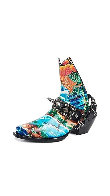 R13 Hawaiian Printed Ankle Half Cowboy Boots