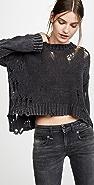 R13 Shredded Side Slit Sweater