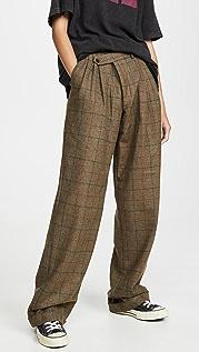 R13 三角形褶皱交叠裤子