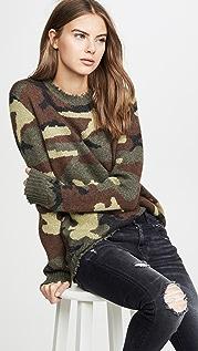 R13 Camo Cashmere Crew Sweater
