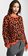 R13 Orange Leopard Cashmere Sweater