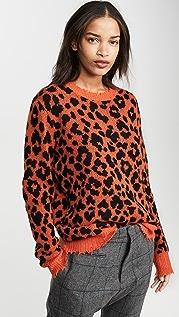 R13 Кашемировый свитер с оранжевым леопардовым принтом