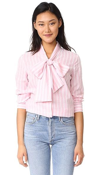 RUKEN Sophia Tie Neck Blouse - Pink Stripe