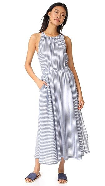 RUKEN Capri Dress In Blue/White Lawn Stripe