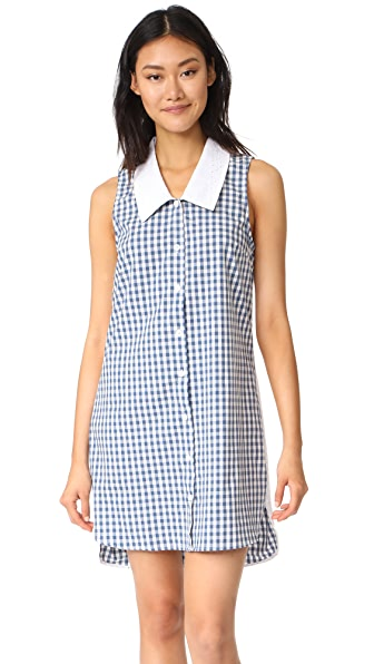 RUKEN Bridget Dress - Blue Gingham/White Eyelet