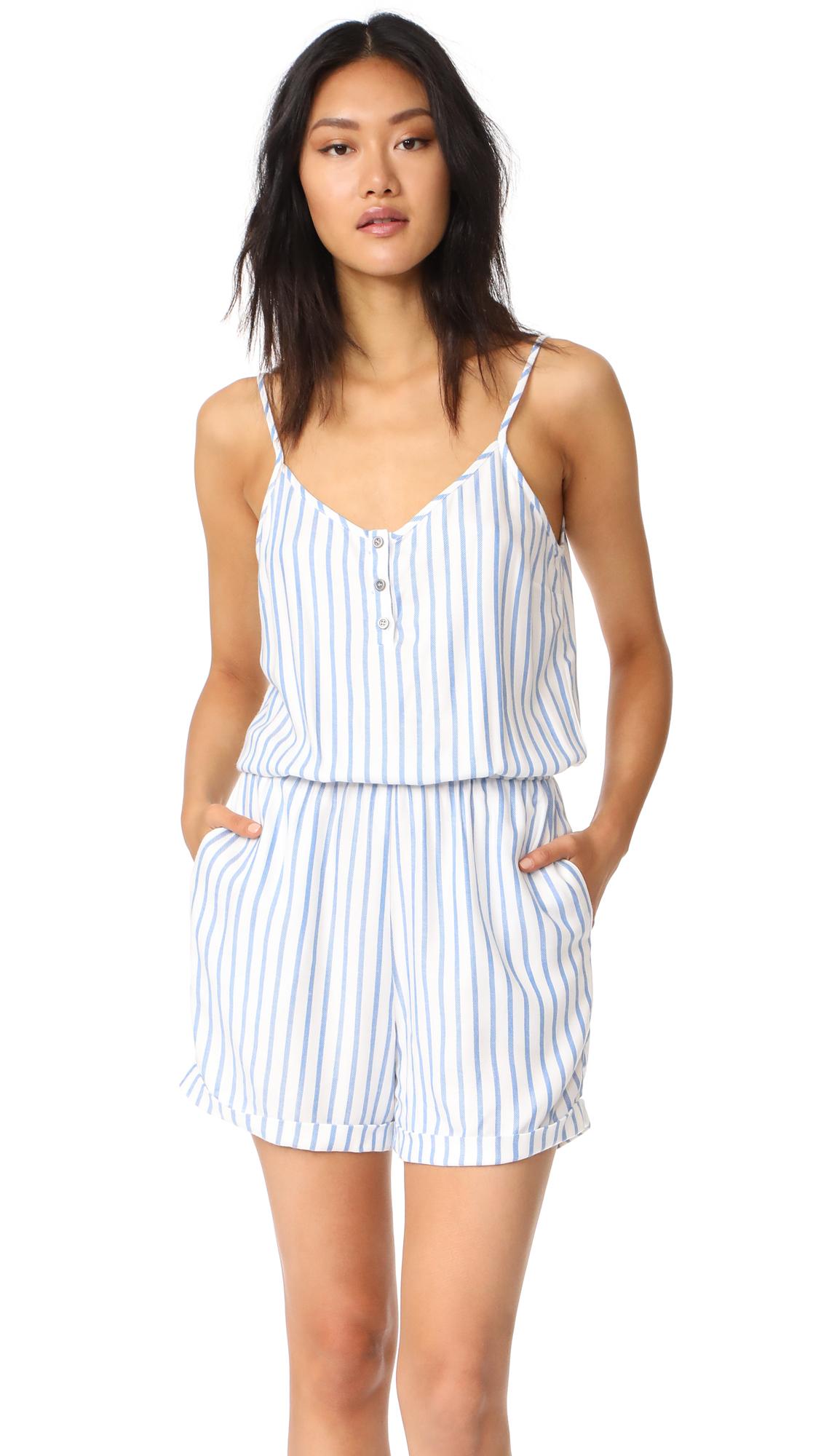 RUKEN Elena Romper - Blue/White Twill Stripe