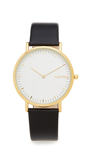 RumbaTime SoHo Leather Lights Out Watch - Black/Gold
