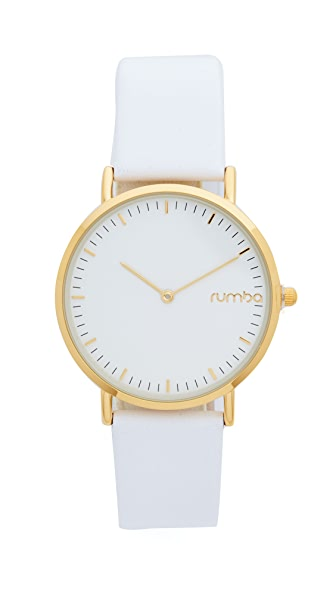 RumbaTime SoHo Leather Snow Patrol Watch - White/Gold