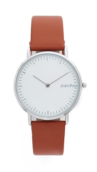 RumbaTime SoHo Leather Hazlenut Watch - Brown/Silver