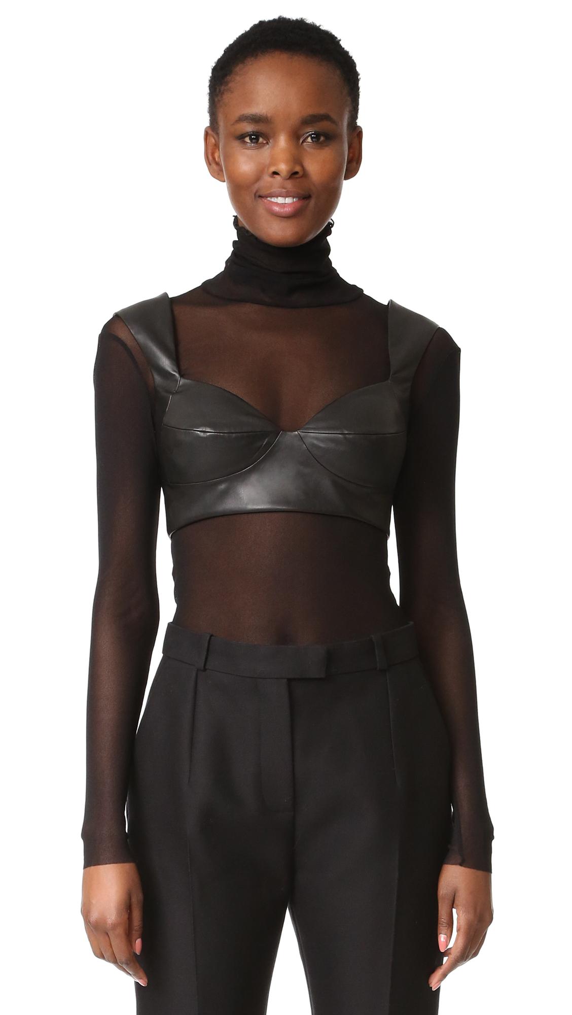 Rubin Singer Faux Leather Bra Top - Black
