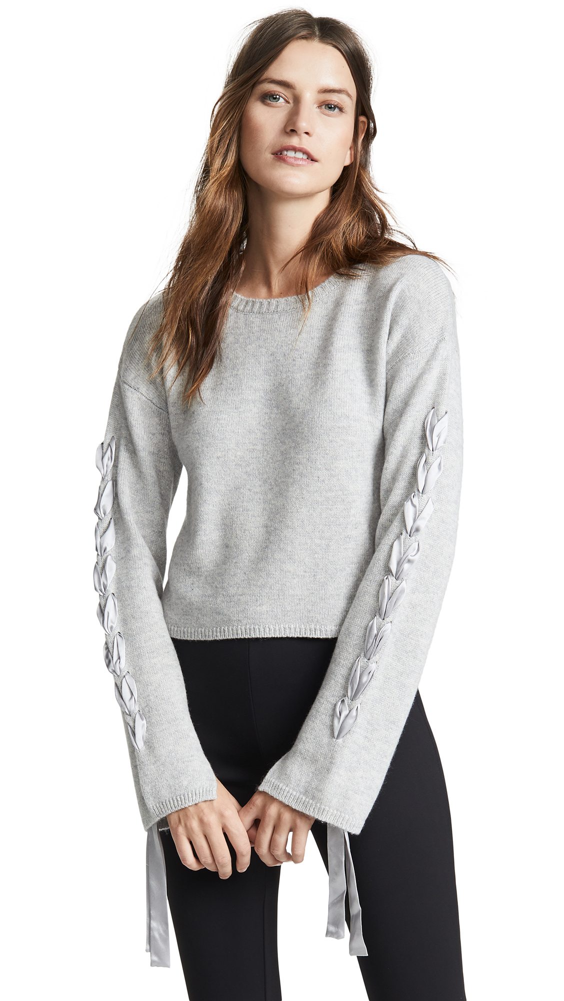 7f610bc9e3 Sablyn Ruby Cropped Tie Sleeve Sweater In Grey