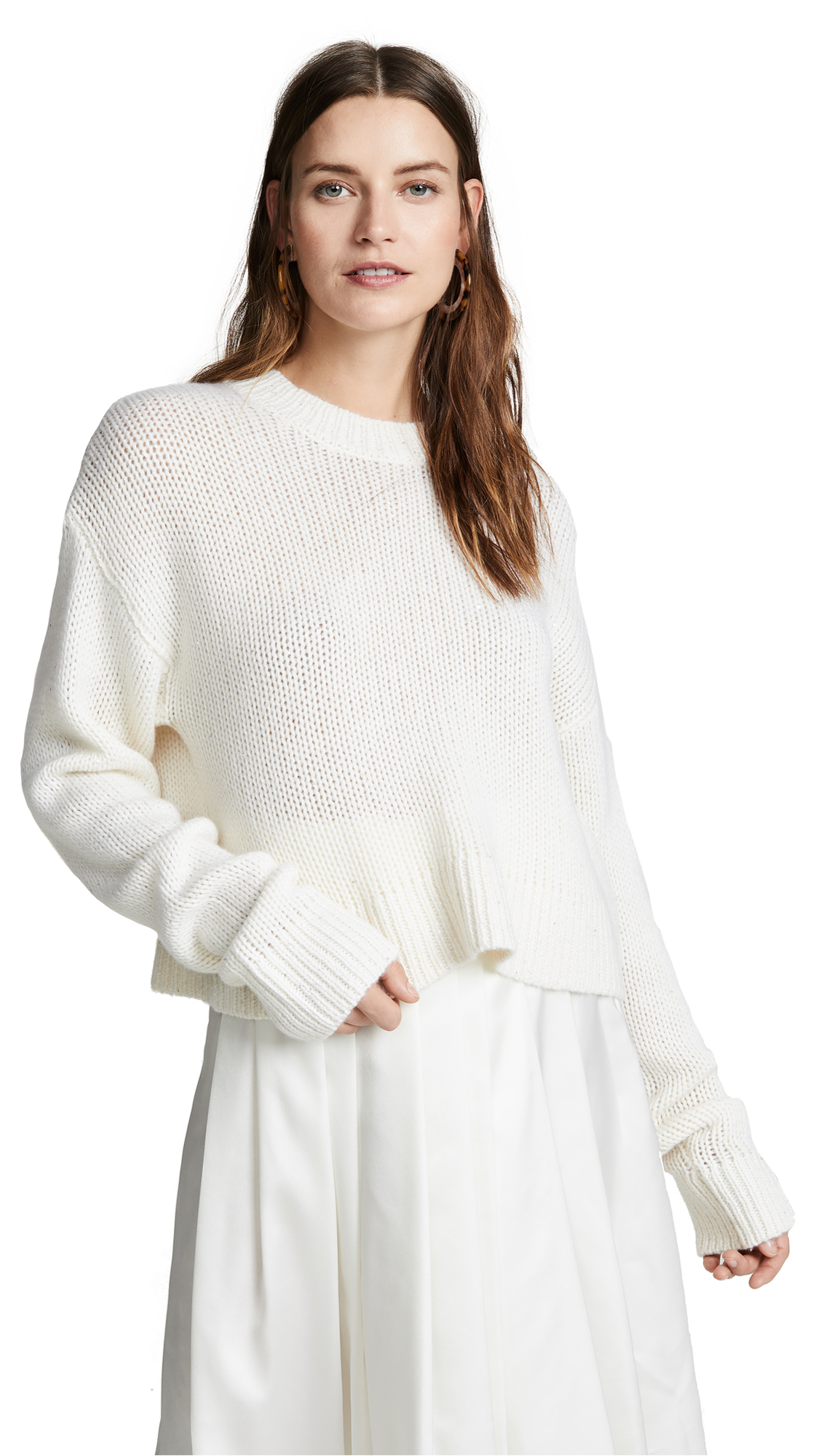 SABLYN Mercy Cropped Sequin Cashmere Sweater in Milk